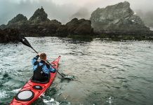 man paddling a Wilderness Systems Tempest 170 composite sea kayak