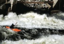 Whitewater paddling in a WaveSport Diesel 65 kayak
