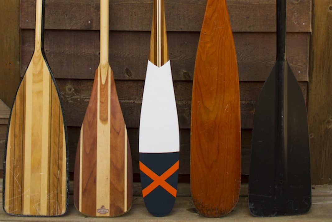 Five canoe paddles lined up along wall