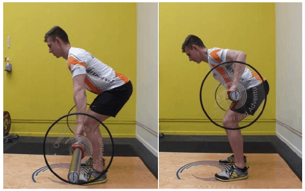 Two photos of man doing bent-over row with a barbell.
