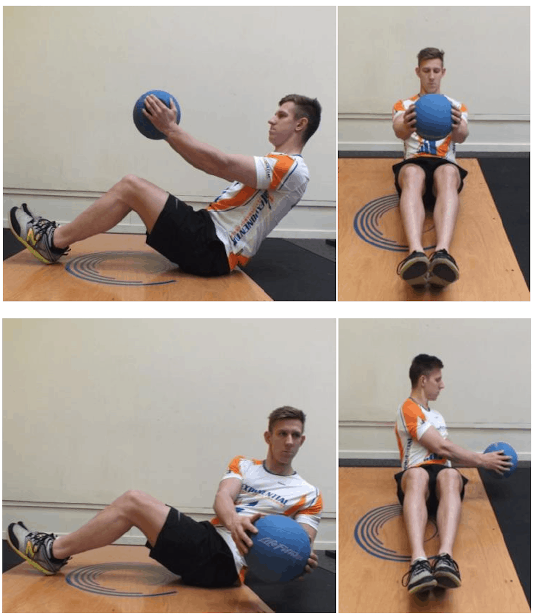 Four diagrams of man passing a medicine ball from one side of his body to the other.