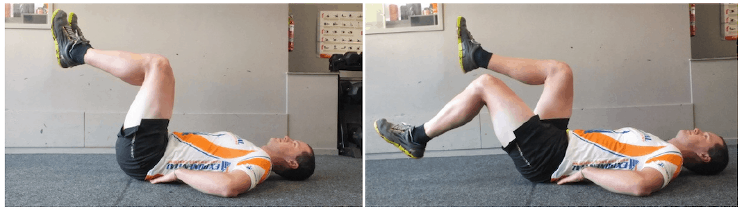 Two photos of man lying on back and lowering his legs to the ground