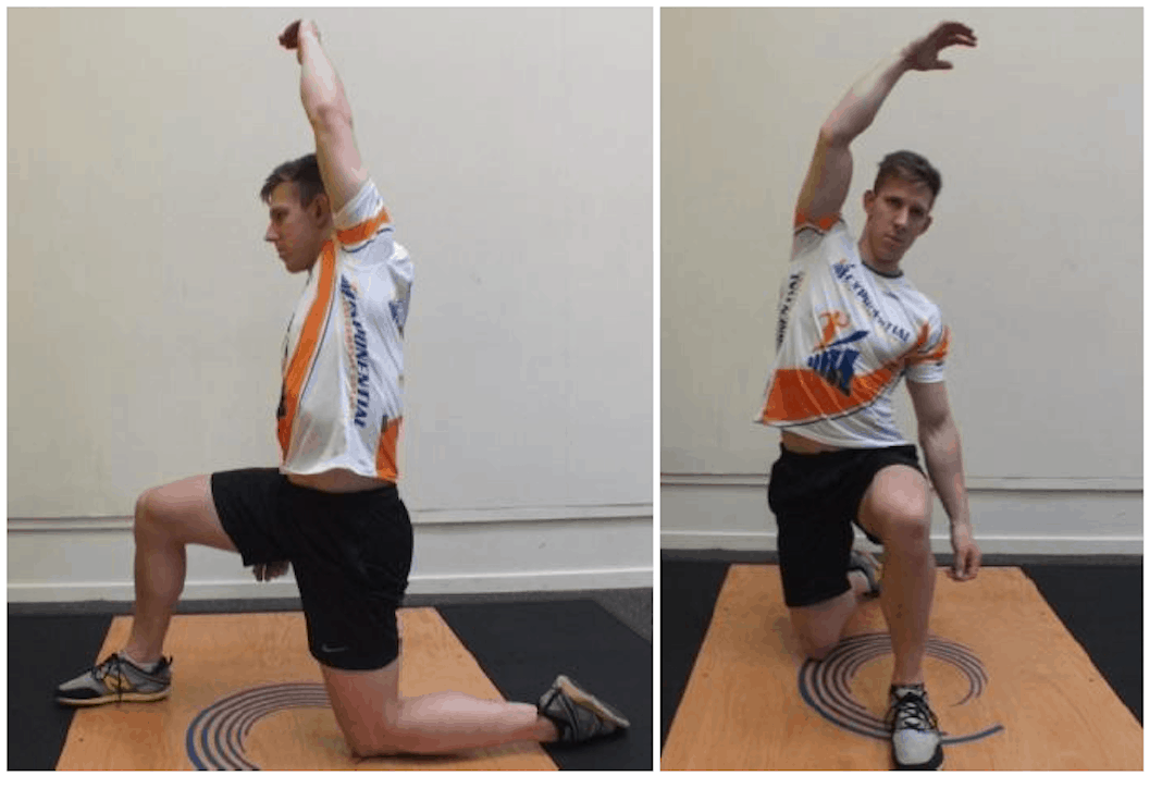 Two photos of man kneeling and bending to each side