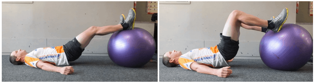Two photos of man lying on ground with feet up on exercise ball.