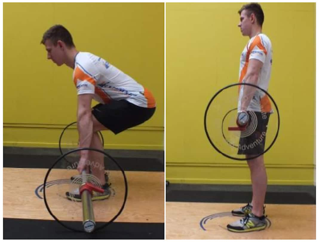 Two photos of man performing a bent-knee deadlift