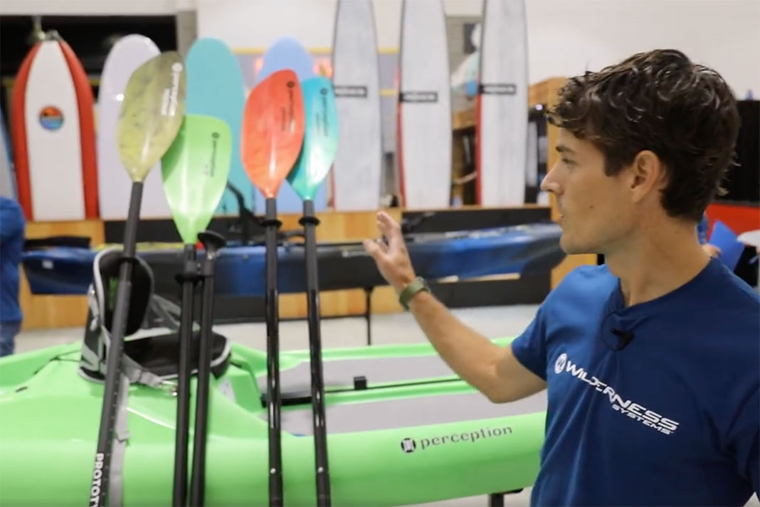 man introduces the new kayak paddles from Perception Kayaks