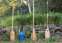 4 canoe paddles standing in a row