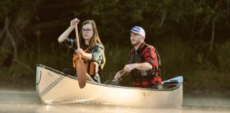 Alex and Claire paddling Esquif's Huron T-formex canoe
