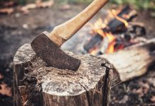an axe in a log