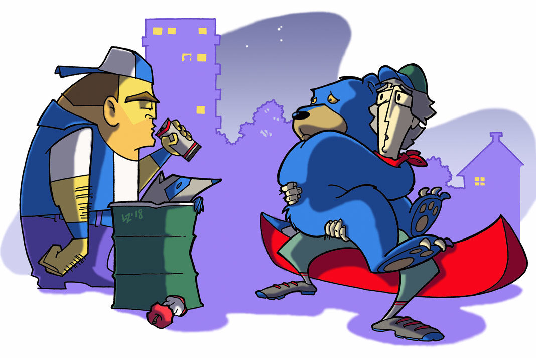 animation of a man and bear petrified of a stranger drinking a beer in the city while paddling