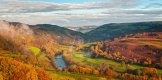 scenic view of rolling mountains with yellow and red leaves and a river running through