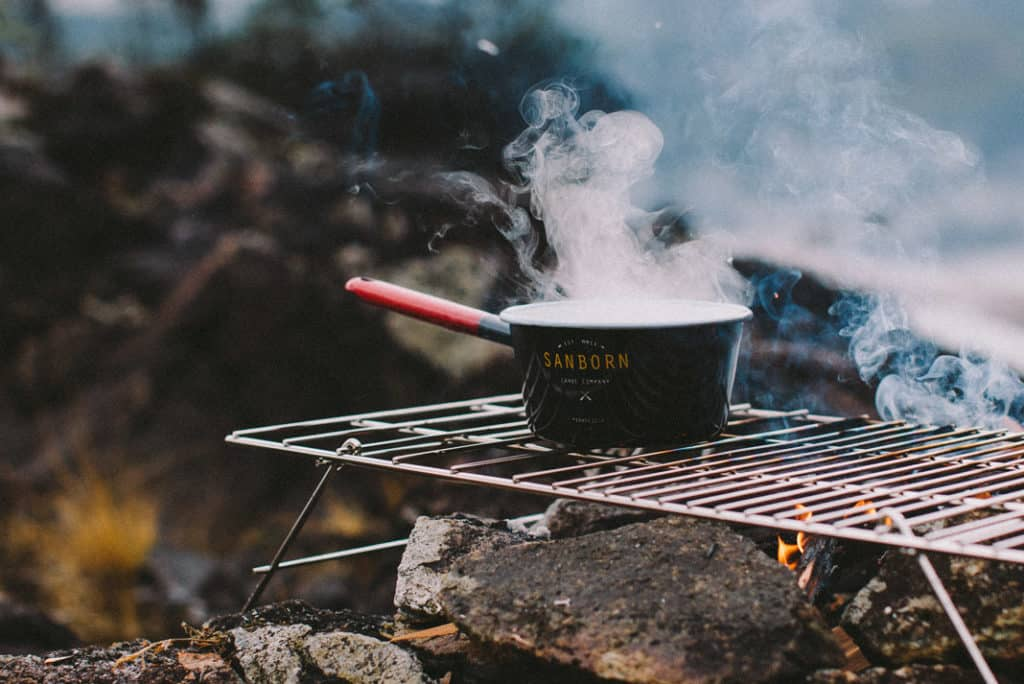 pot being cooking in the wilderness