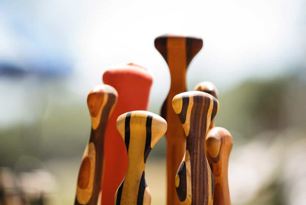 Wooden canoe paddle grips