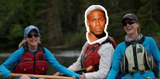 Kevin Hart's head photoshopped on a whitewater rafter's body, along with two other rafters smiling and posing