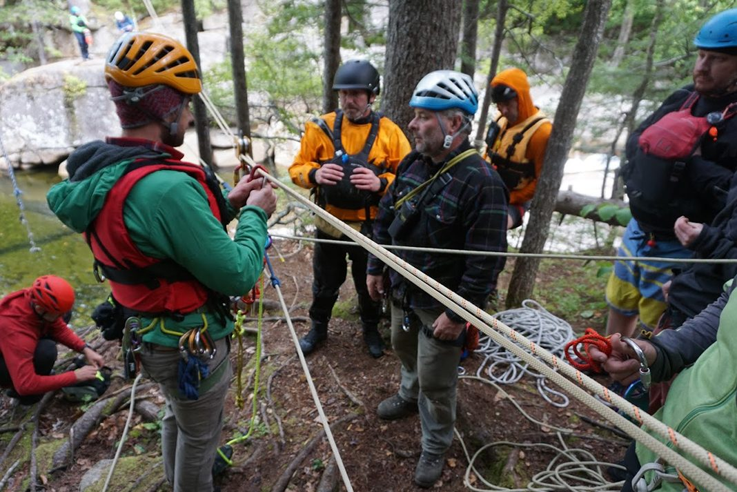 MRS and WMSRT team members training on the rope systems used to establish a Tyrolian Traverse during joint team training in October 2018.