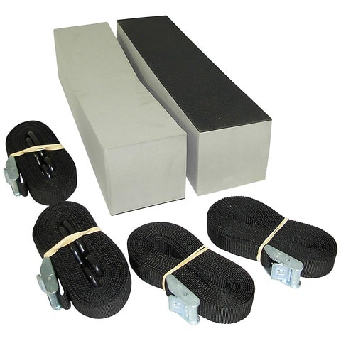 Foam blocks and straps for loading boats on car.