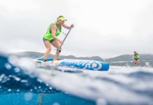 Lina Augaitis training near Japan's Zamami Island 2018. | Photo: The Paddle League/Georgia Schofield