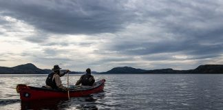 Two canoeists paddling on the ocean in Labrador