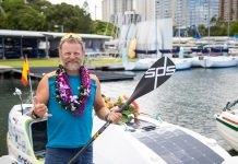 Antonio de la Rosa arrives in Waikiki after more than two months at sea on his paddleboard, Ocean Defender.