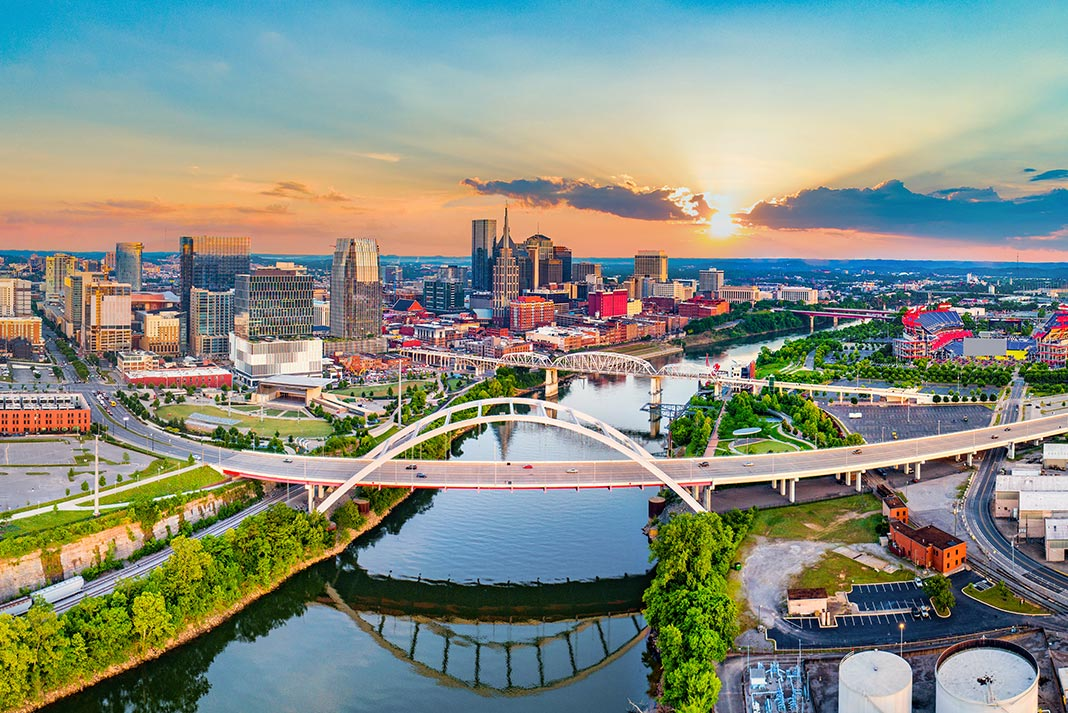 Overhead view of the Cumberland River running through Nashville.