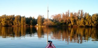 Front of a kayak pointing at the CN Tower