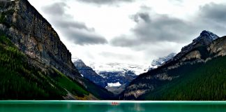 Red canoe on the waters of Lake Louise
