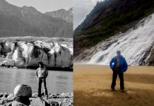 Split screen of man standing in front of glacier, 30 years apart