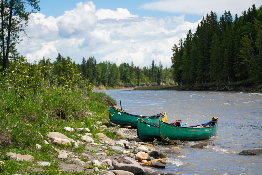 Two green canoes pulled over to the side of a river