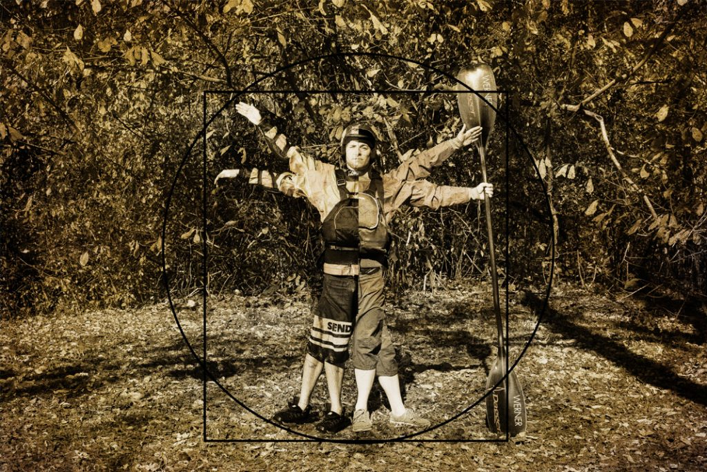 Man decked out in kayaking equipment with arms and legs in different positions.