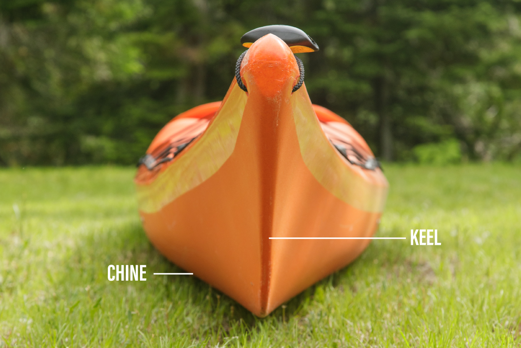 Front of a sea kayak on the grass