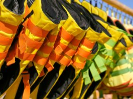 Life jackets hanging on a rack