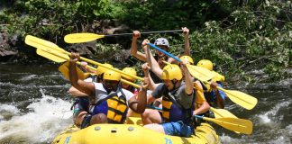 People in yellow raft raising their paddles in the air