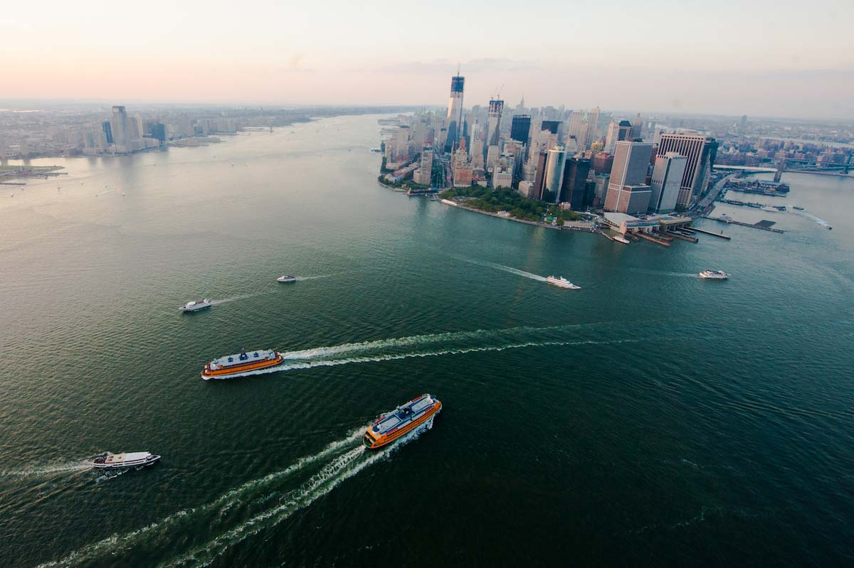 Boat large and small zip across the New York harbor, a situation similar to the 2016 kayak accident