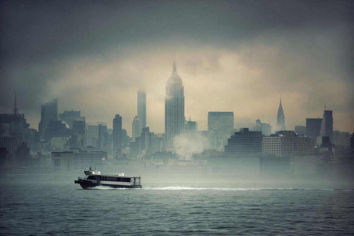 In the foggy New York harbor, visibility is key to avoid a kayak accident