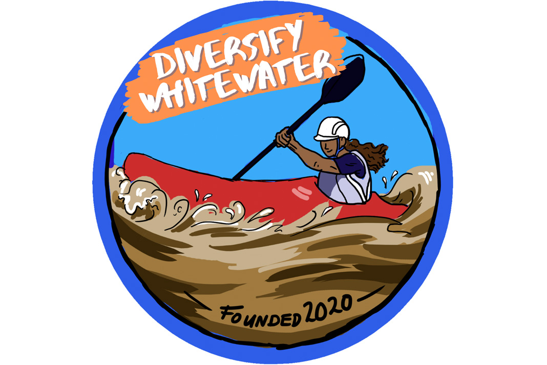 Logo design by Rebecca York is available as a sticker to event participants. | Photo Courtesy: Diversify Whitewater