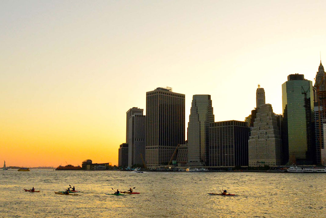 Silhouette of the New York City harbor