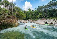 kayakers on the lower Piatua River. Photo by Jeremy Snyder
