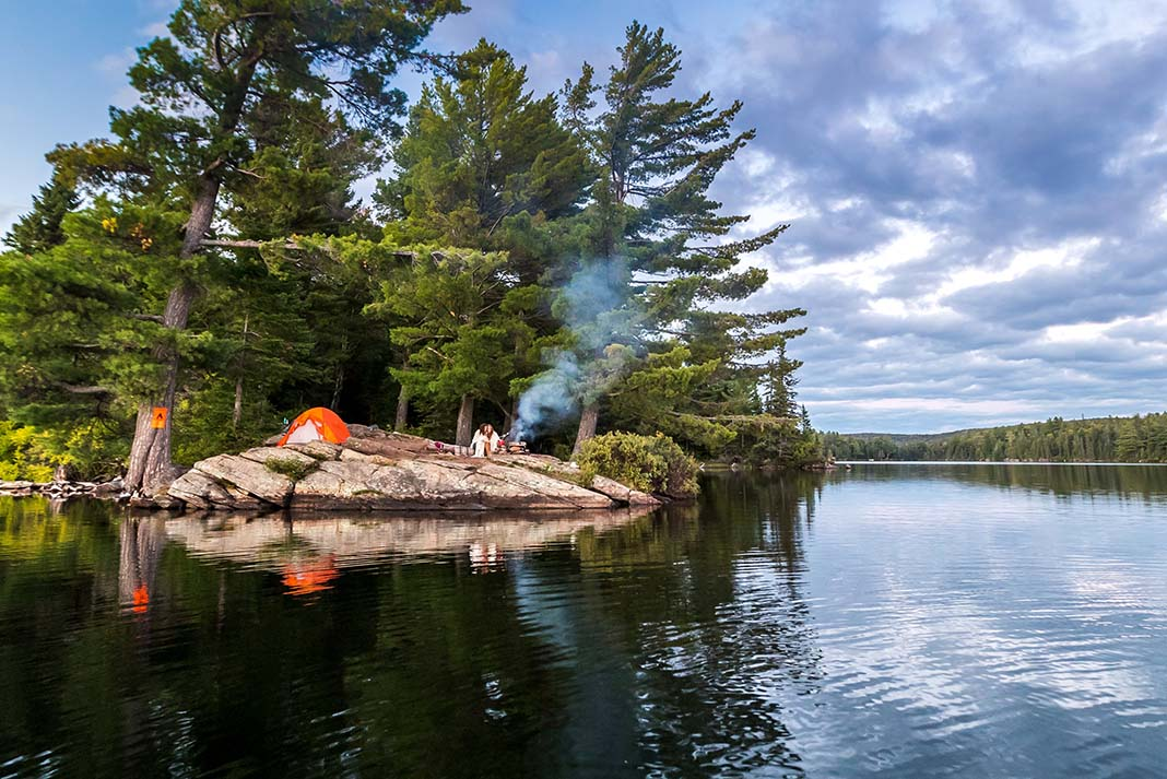 Tent set up on rocky island in Algonquin Park backcountry