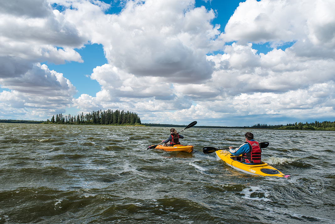 Kayaking in Elk Island waters near Edmonton