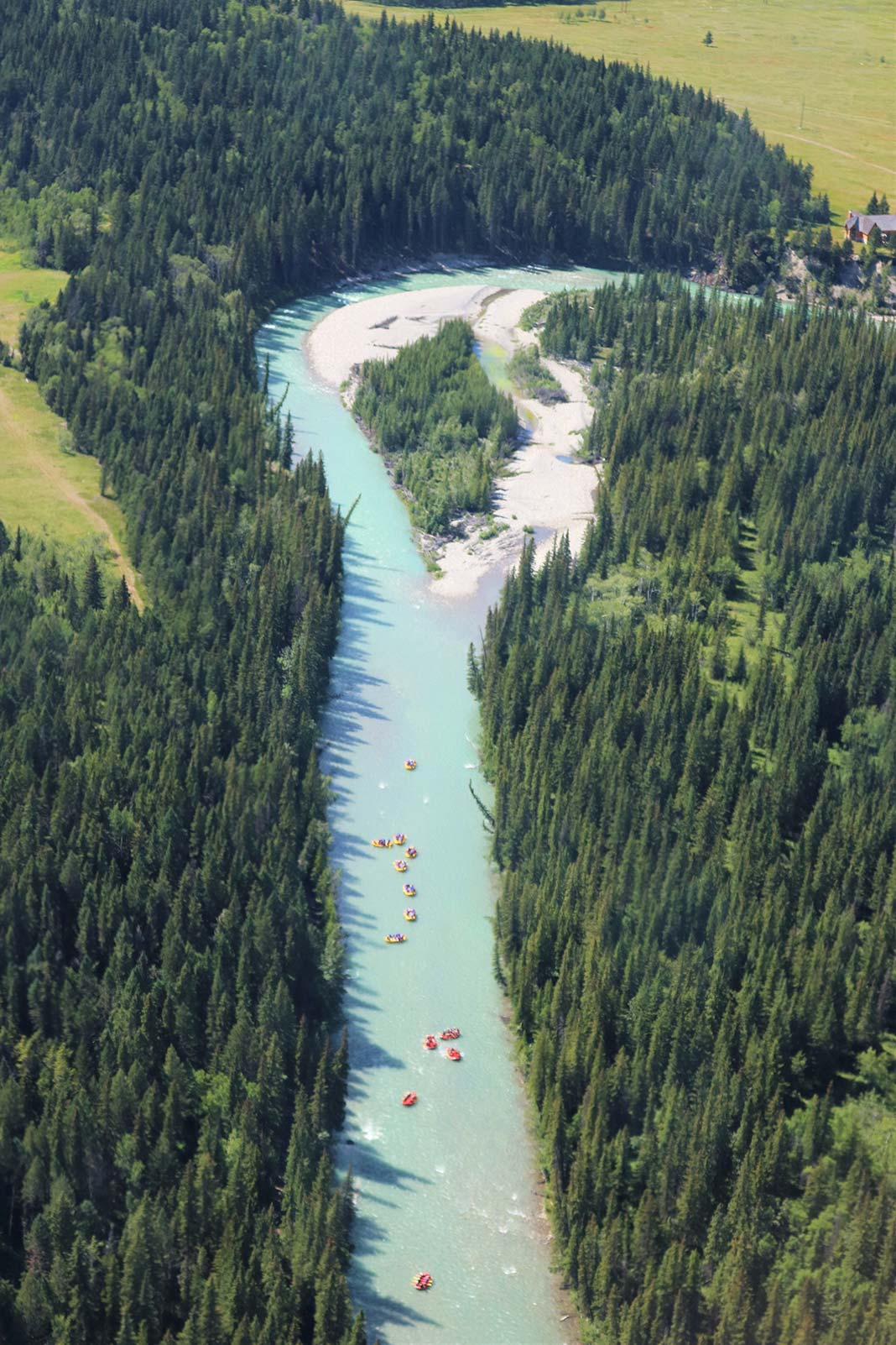 View of Bow River from above with rafts