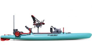 Catamaran fishing kayak with raised seat