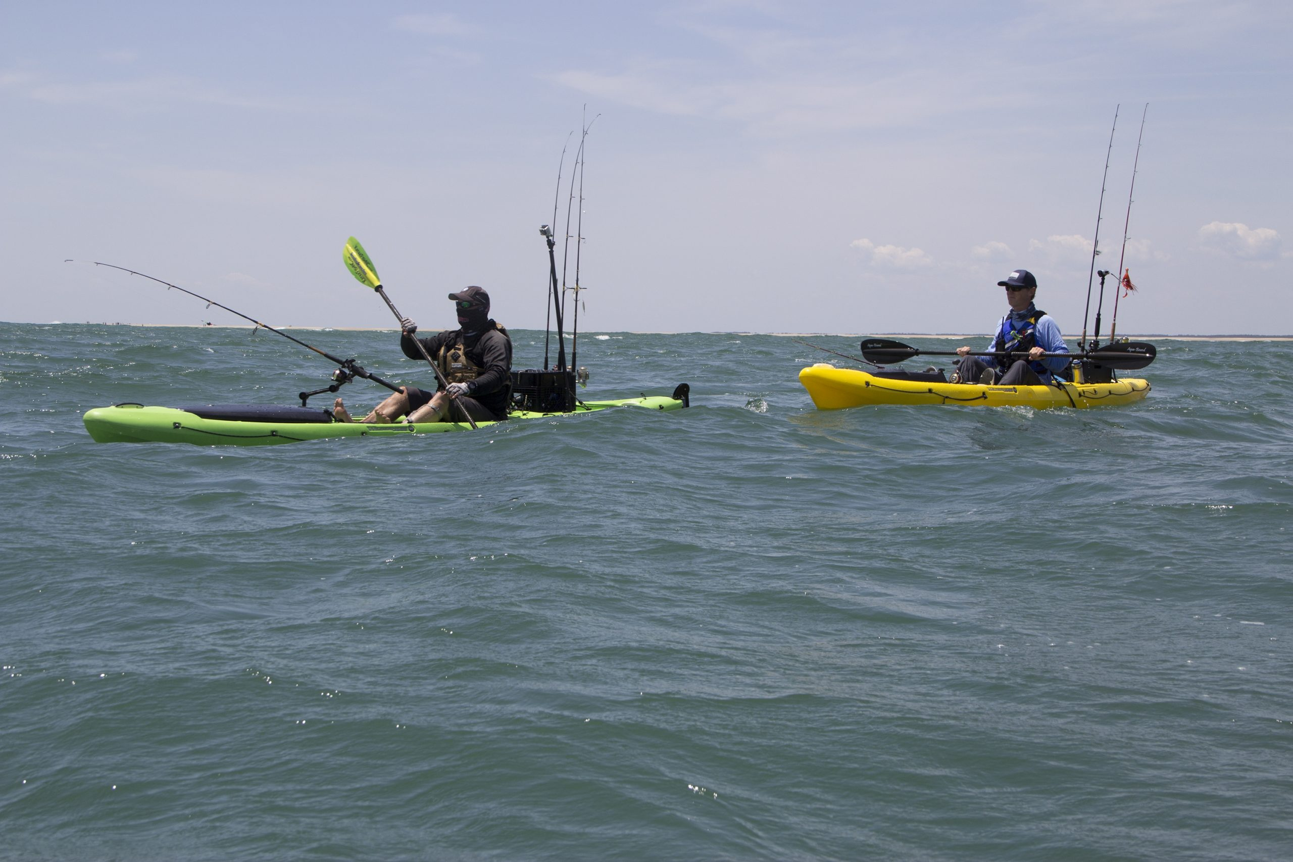 Wilderness System's new Thresher 140 (yellow) and 155 (green) cover the distance to catch the fish. Photo: Evan Lyendecker