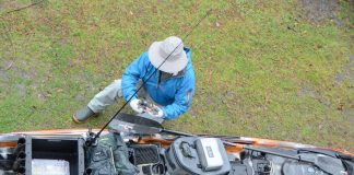 angler preparing his fishing kayak with rain proof gear