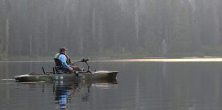 Man on a fishing kayak