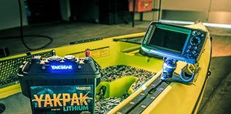 Light it up. A Lithium-Ion battery in a waterproof case supplies power for fish finder and other accessories. | Photo: Courtesy YakGear