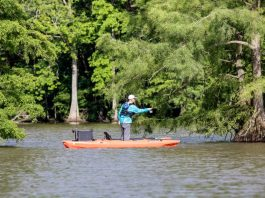 Yes, you can stand and fish from a sit-inside kayak.   Photo: Patrick Buzz Hayes