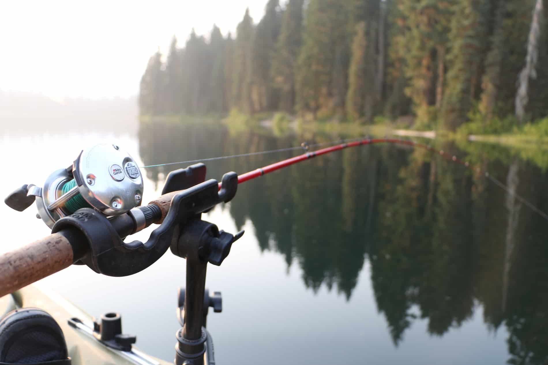 An adjustable rod holder elevates the rod away from the water. | Photo: Brad Hole