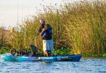 kayak angler fishing at California Delta