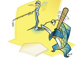 illustration of fish swinging a bat while fisherman casts at him