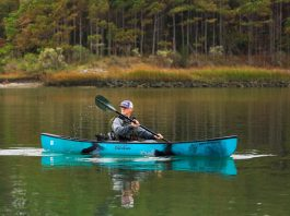 angler paddles the old town Discover 119 Solo Sportsman